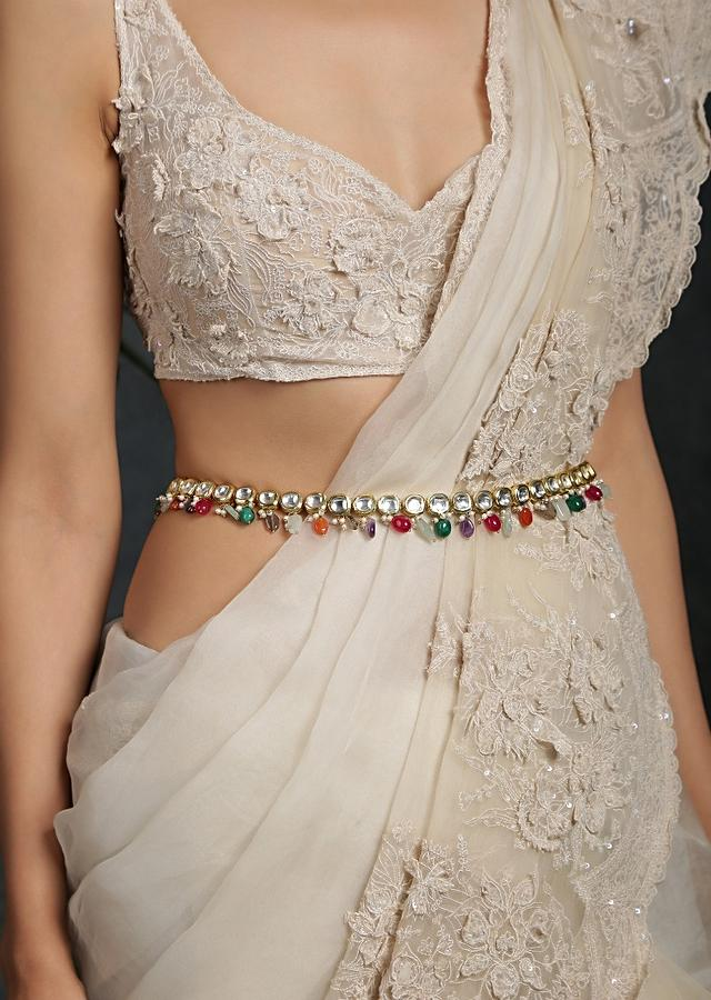 Gold Plated Polki Waist belt With High Grade Shell Pearls And Dangling Multicolored Semi Precious Stones By Paisley Pop