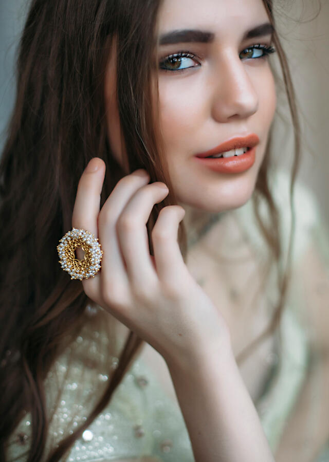 Gold Plated Ring Edged In Pearls And Carved Filigree Design By Zariin