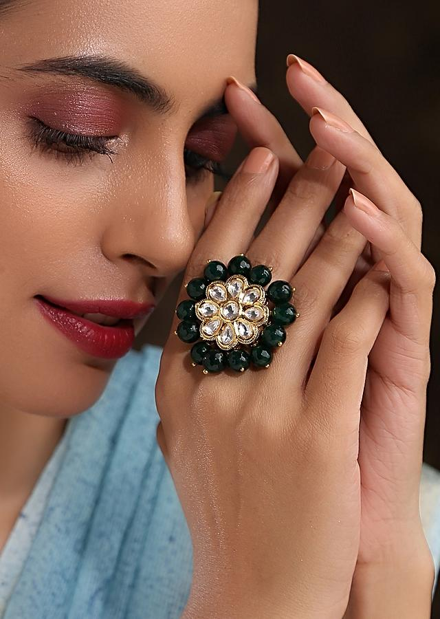 Gold Plated Ring Featuring Flower Shaped Kundan Surrounded With Green Beads On The Edge By Paisley Pop