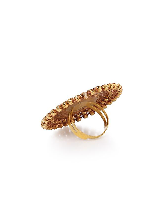 Gold Plated Ring With Contemporary Temple Work By Paisley Pop