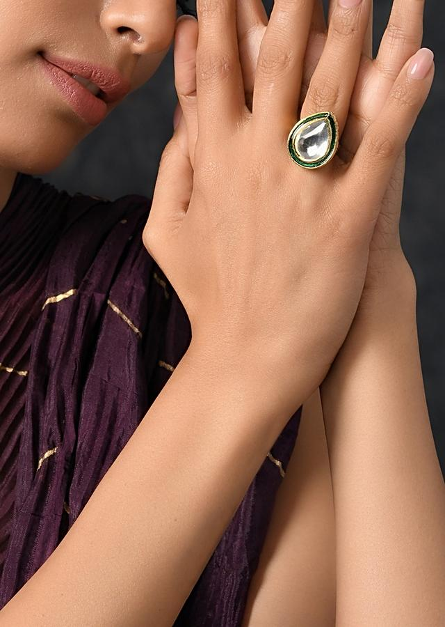Gold Plated Ring With Elaborate Kundan Accent Lined With Rich Green Mina Kari Work By Paisley Pop