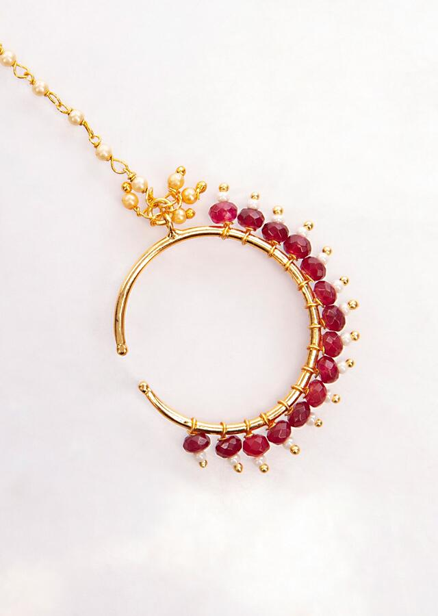Gold plated round nose ring in white and maroon beads only on Kalki