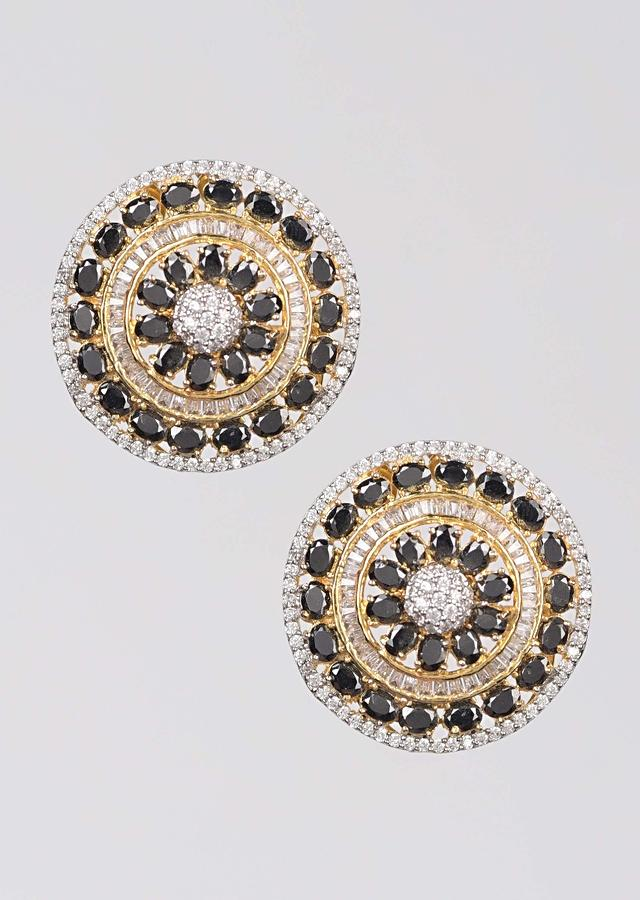 Gold Plated Round Stud With Black And White Stones Online - Kalki Fashion