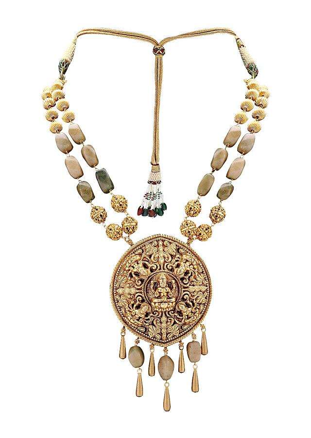Gold Plated Royal Necklace Set With A Gold Plated Pendant And Agate Beads Online - Joules By Radhika
