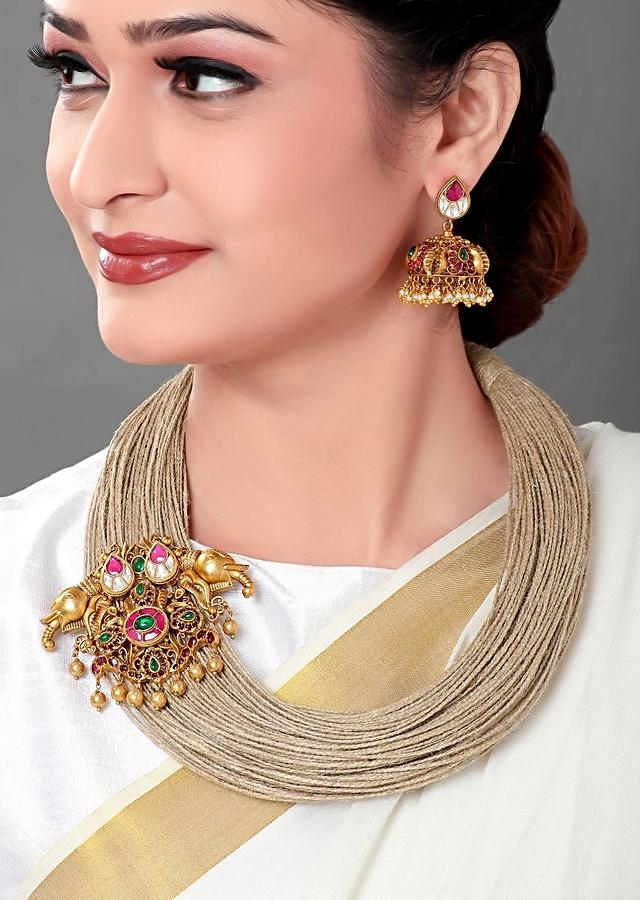 Gold Plated Set Is Made Of A Jute Thread And A Gold Plated Temple Pendant With Matching Earrings Online - Joules By Radhika