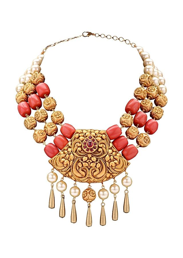 Gold Plated Set With A Temple Pendant, Shell Pearls And Coral Beads Online - Joules By Radhika