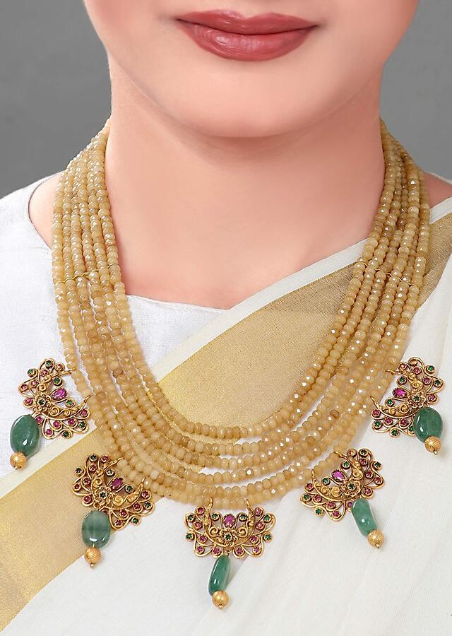 Gold Plated Set With Agate Beads, Jades And An Antique Gold Pendant Online - Joules By Radhika