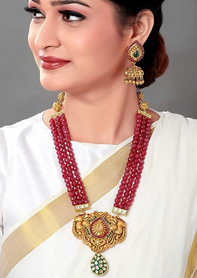 Gold Plated Set With Red Agate Beads, A Gold Plated Pendant, Polki, Hydro Rubies And Emeralds Online - Joules By Radhika