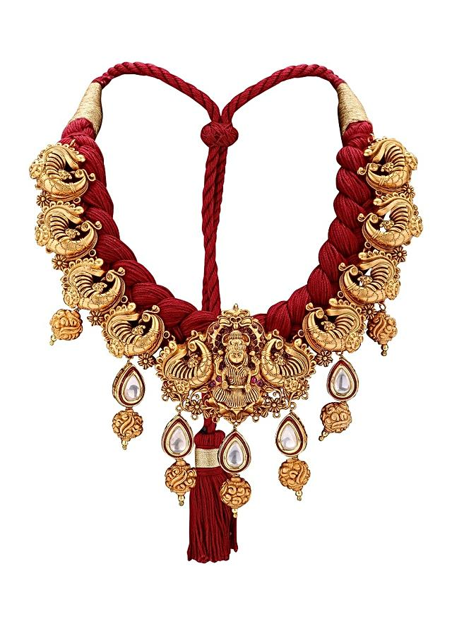 Gold Plated Set With Red Resham Thread And Imitation Polki Online - Joules By Radhika