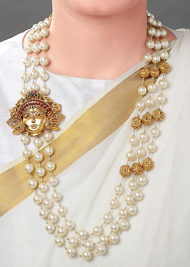 Gold Plated Set With Shell Pearls, Gold Carved Beads And A  Gold Plated Temple Pendant Online - Joules By Radhika