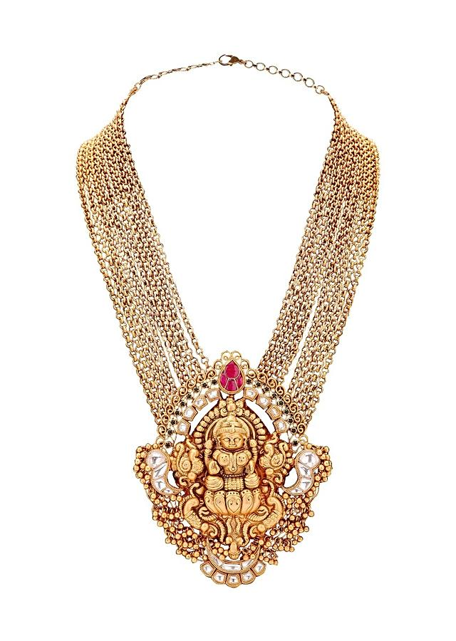 Gold Plated Set With Temple Pendant And Imitation Polki Online - Joules By Radhika