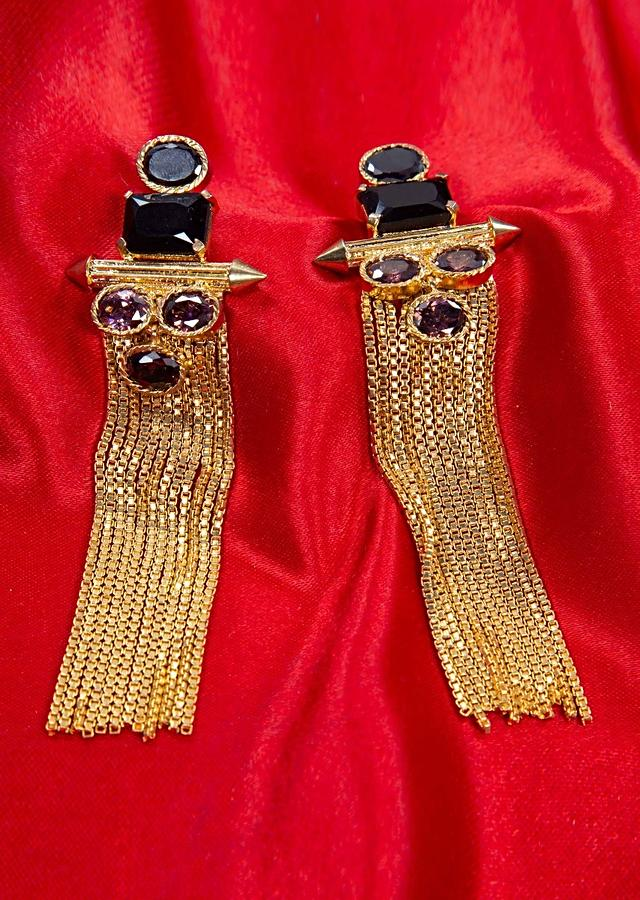 Gold plated sleek tassel earring adorn with black and amethyst semi precious stone only on kalki