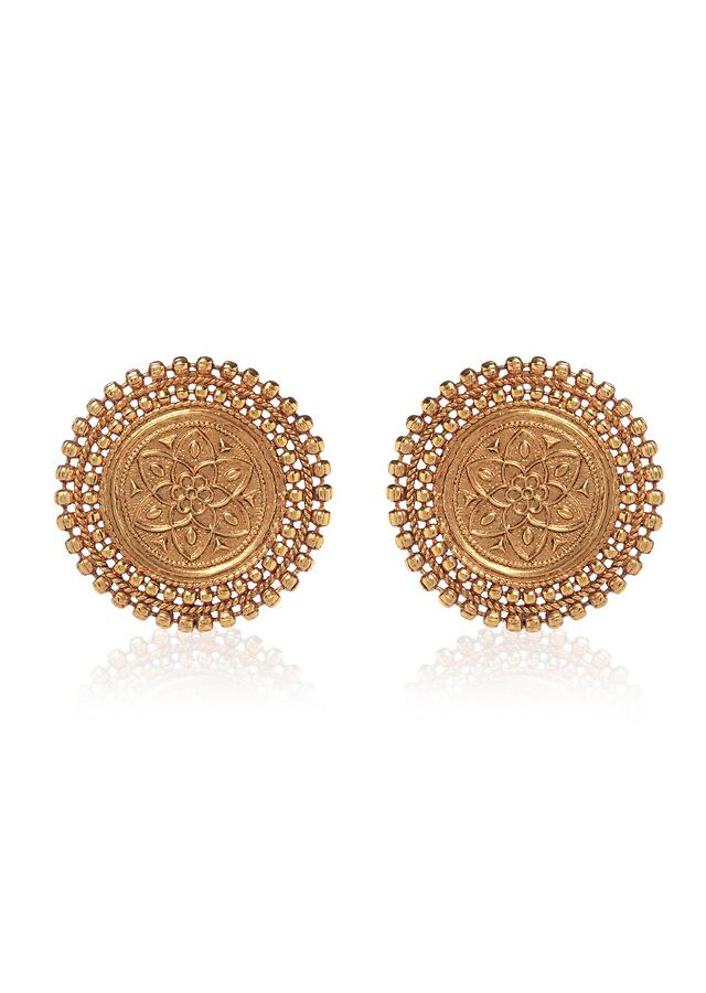 Gold Plated Stud Earrings With Intricate Temple Work Crafted In A Round Motif By Paisley Pop