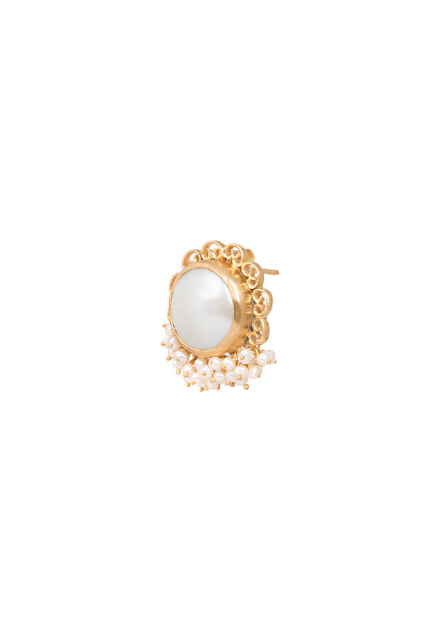 Gold Plated Studs With Baroque Pearls Edged In Filigree Design And Pearls By Zariin