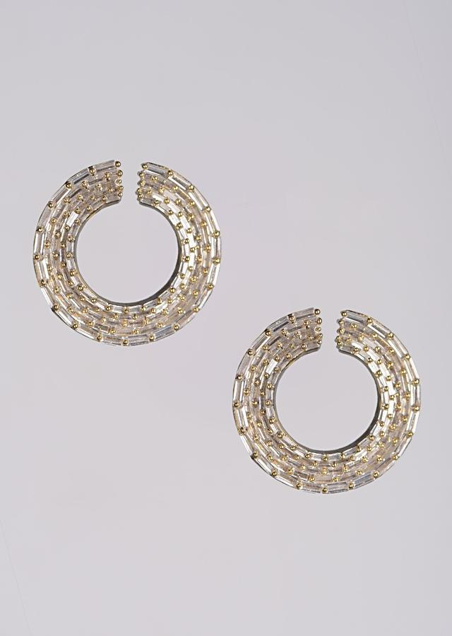 Gold Plated Studs With Bugle Beads In Round Pattern Online - Kalki Fashion