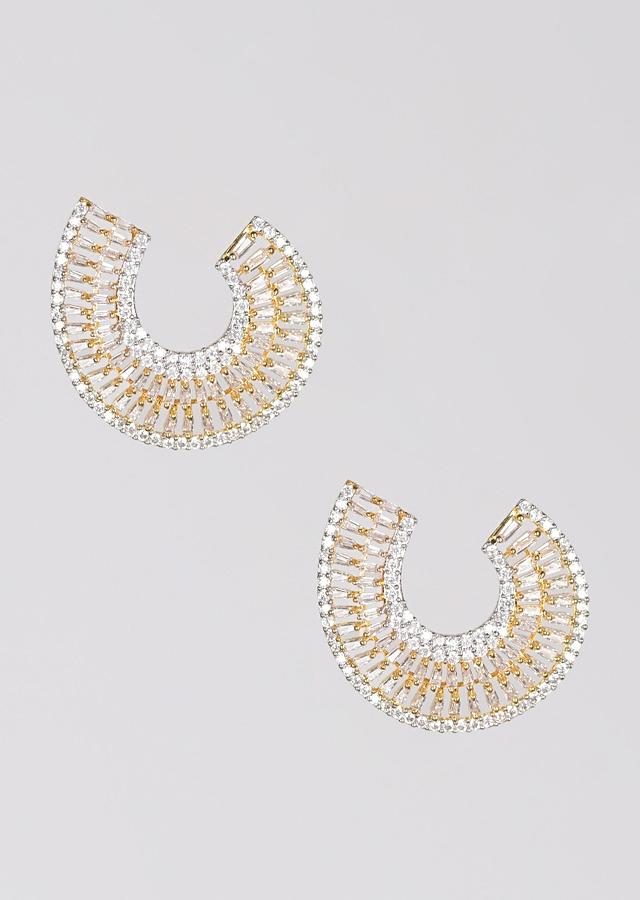 Gold Plated Studs With Stones And Bugle Beads In Crescent Shape Online - Kalki Fashion