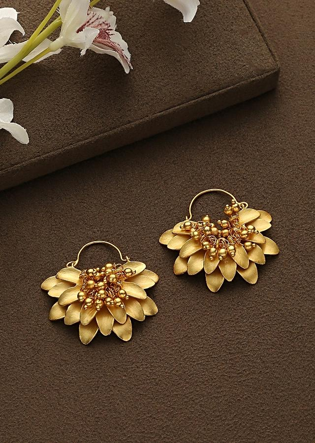 Gold Plated Temple Earrings With Emboss  Work And Dangling Bead Tassels In The Centre By Paisley Pop