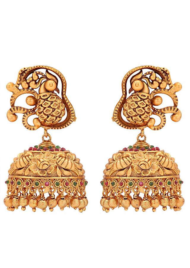 Gold Plated Temple Jewellery Set With Gold Plated Pendant, Gold Beads And Corals Online - Joules By Radhika