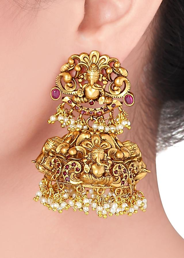 Gold Plated Temple Jhumkas Studded With Rubies And Dangling Pearls Online - Joules By Radhika