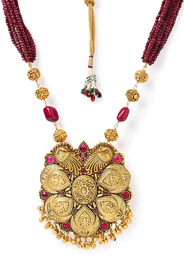 Gold Plated Temple Necklace And Earrings Set With Red Bead Strings, Hydro Rubies And Carved Gold  Plated Beads Online - Joules By Radhika