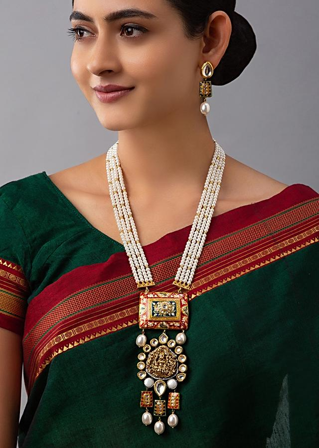 Gold Plated Temple Necklace And Earrings Set With Red Minakari Pendant, Hydro Kundan Polki And Shell Pearl Strings Online - Joules By Radhika