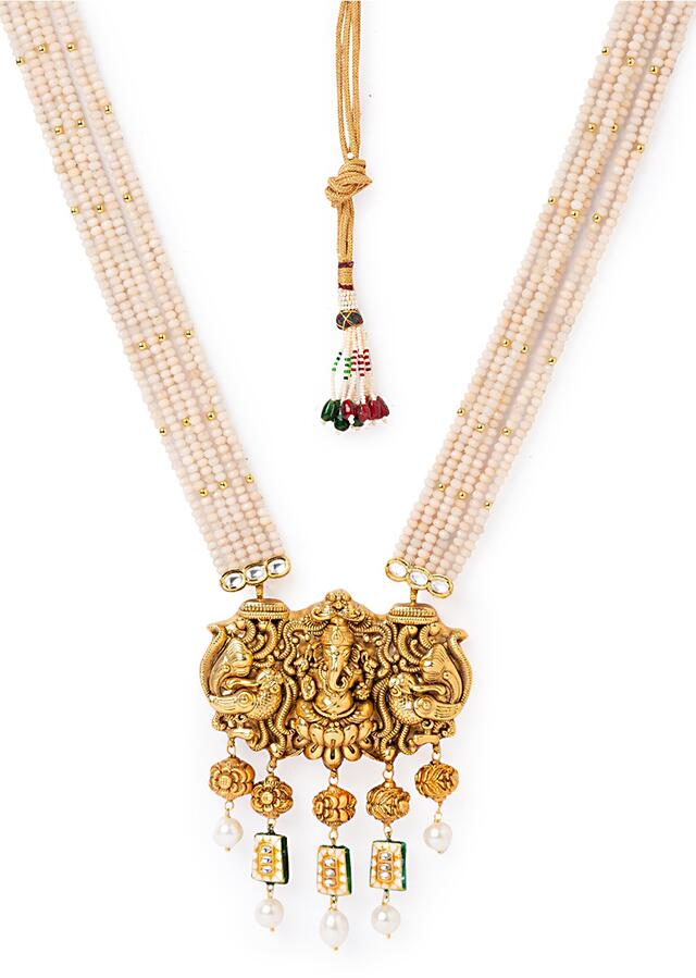 Gold Plated Temple Necklace And Earrings Set With White Agate Strings And Dangling Shell Pearls And Minakari Online - Joules By Radhika