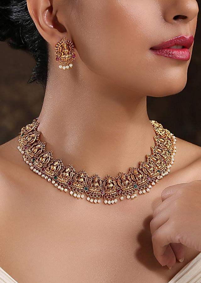 Gold Plated Temple Necklace Set With Intricate South Indian Temple Inspired Designs And Moti Work By Paisley Pop