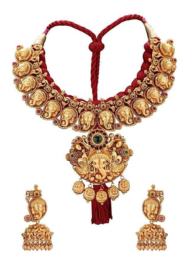 Gold Plated Temple Necklace Set With Resham Thread Coupled With Matching Earrings Online - Joules By Radhika