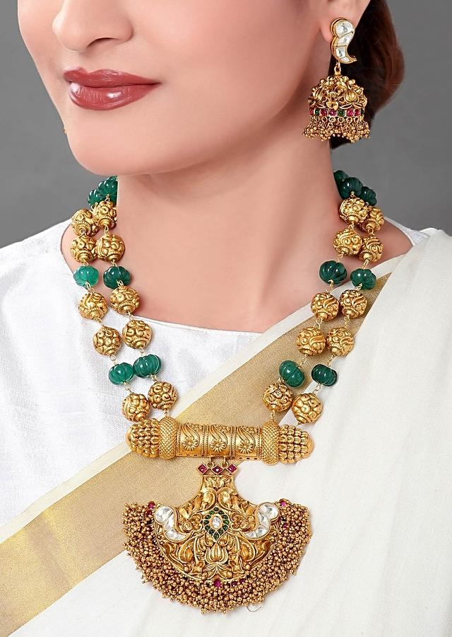 Gold Plated Temple Pendant Set With Gold Beads And Green Onyx Beads Online - Joules By Radhika