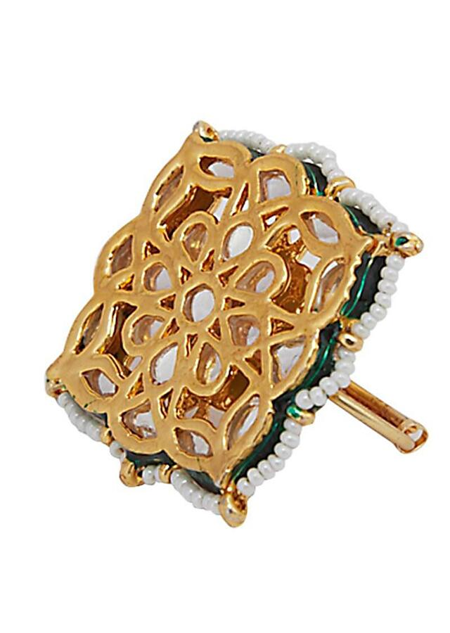 Gold Plated Two Finger Ring In Square Shape Studded With Kundan And Beads Online - Kalki Fashion