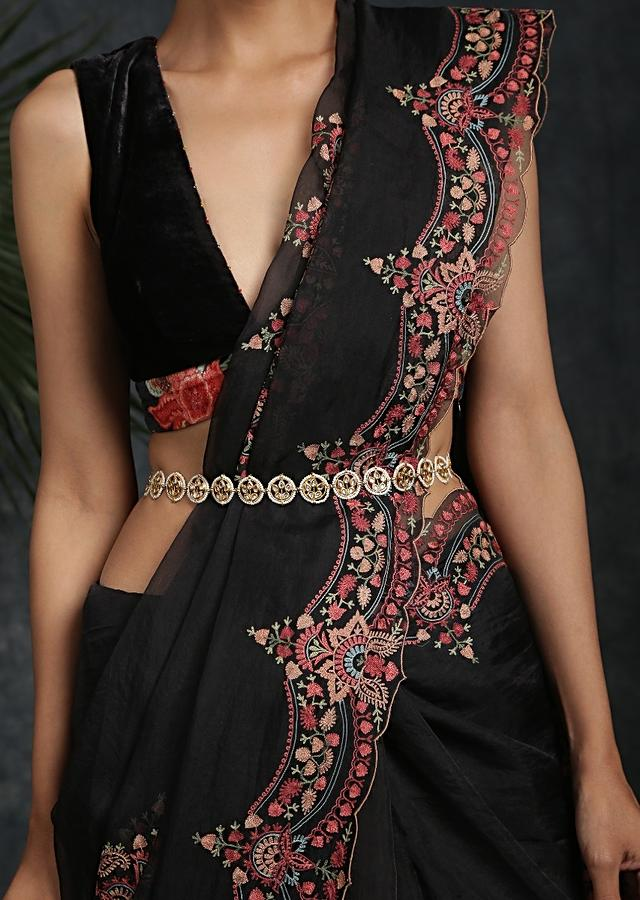 Gold Plated Waist Belt Enhanced With Timeless Polki Combined With High Grade Shell Pearls By Paisley Pop