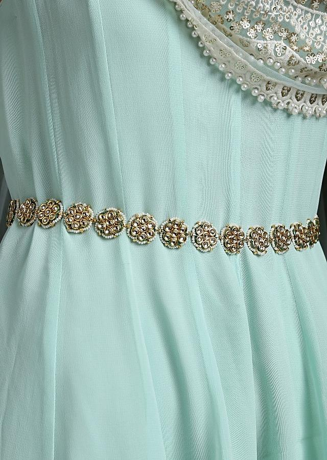 Gold Plated Waist belt Made With Timeless Polki In Floral Motifs That Are Edged With High Grade Shell Pearls By Paisley Pop