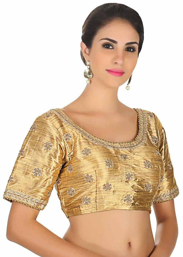 Gold raw silk blouse with moti embroider butti only on Kalki