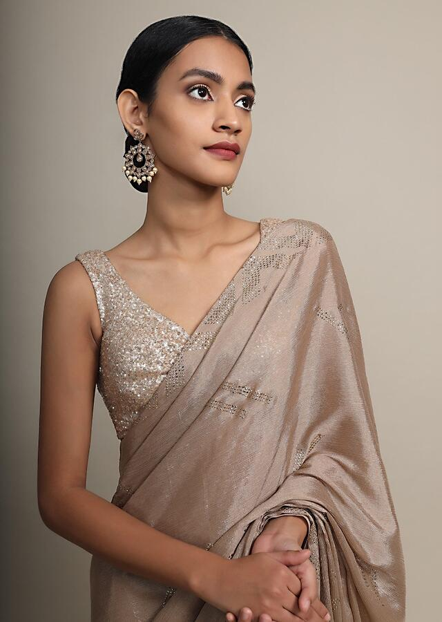 Gold Saree In Chinon Chiffon With Badla Embroidered Buttis And Chevron Border Online - Kalki Fashion