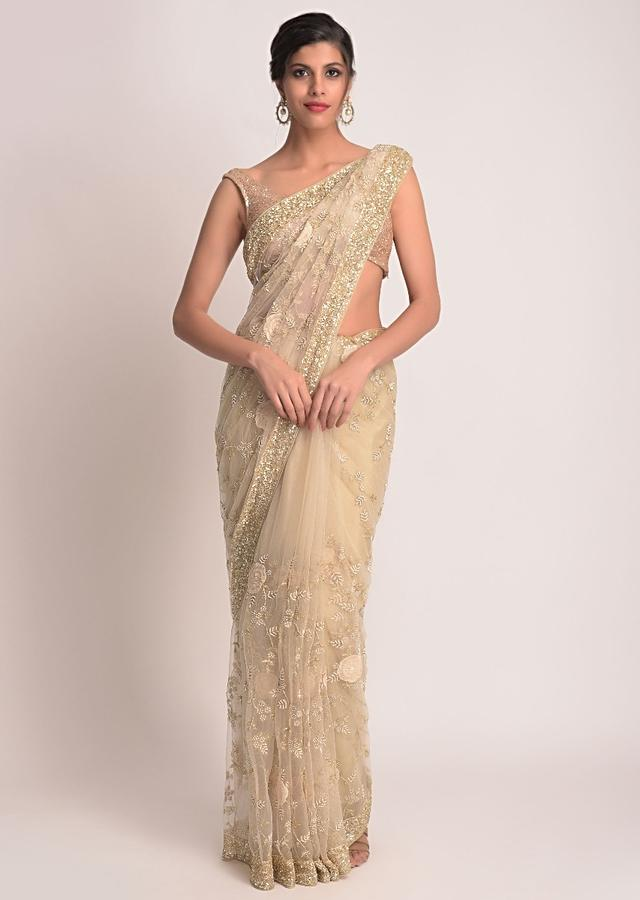 Gold Saree In Net With 3D Floral Applique Online - Kalki Fashion