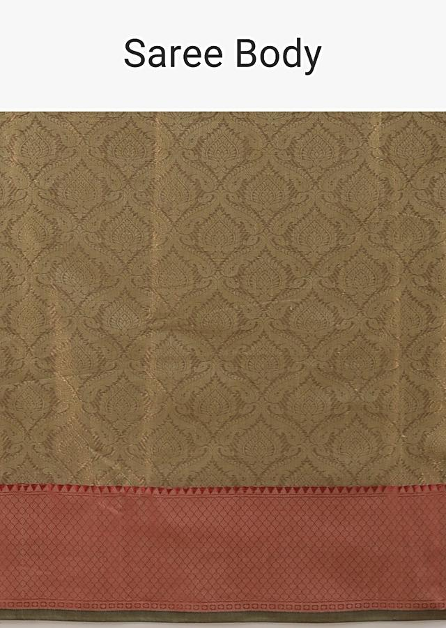Gold Saree In Silk With Woven Moroccan Jaal And Red Geometric Woven Border Online - Kalki Fashion