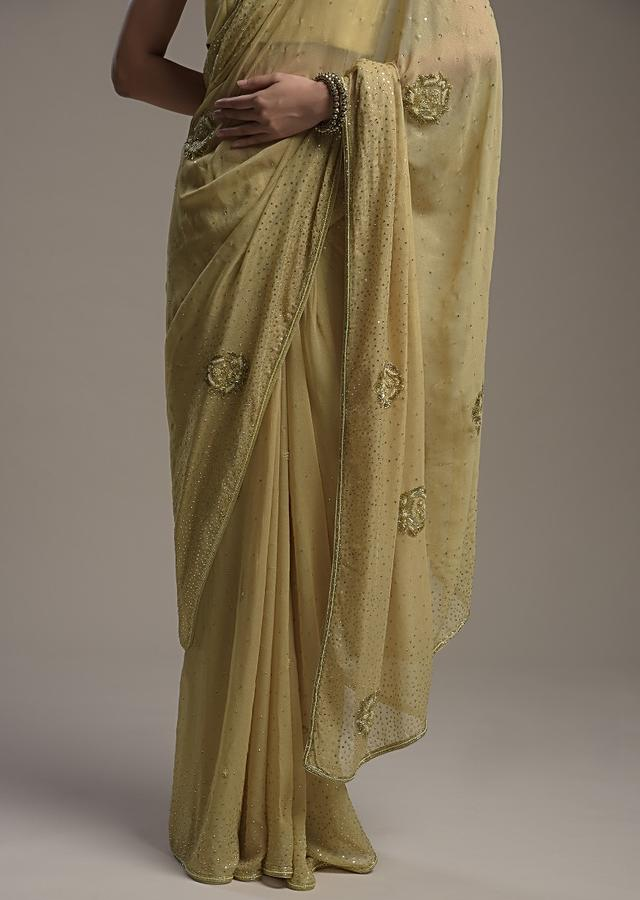 Gold Shimmer Georgette Saree With Scattered Sequins And Moti Motifs Along With Unstitched Blouse Online - Kalki Fashion