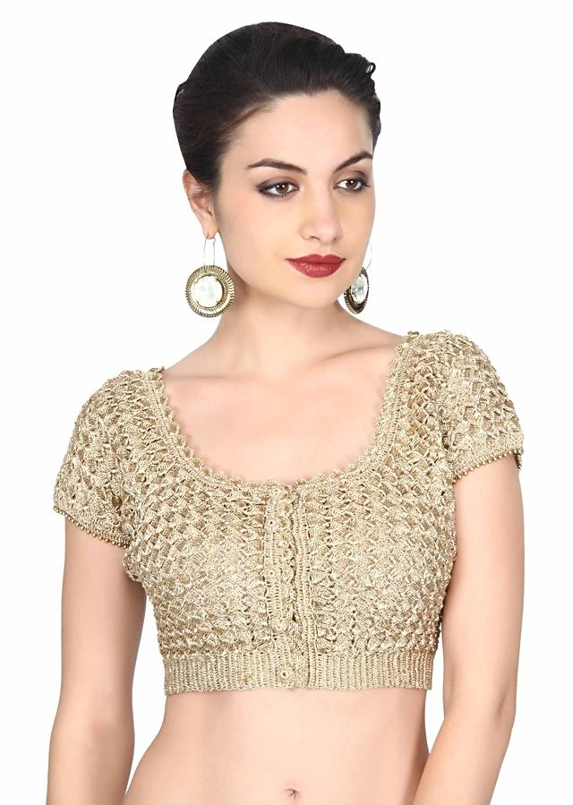 Gold Blouse With Crochet Lace Work Online - Kalki Fashion