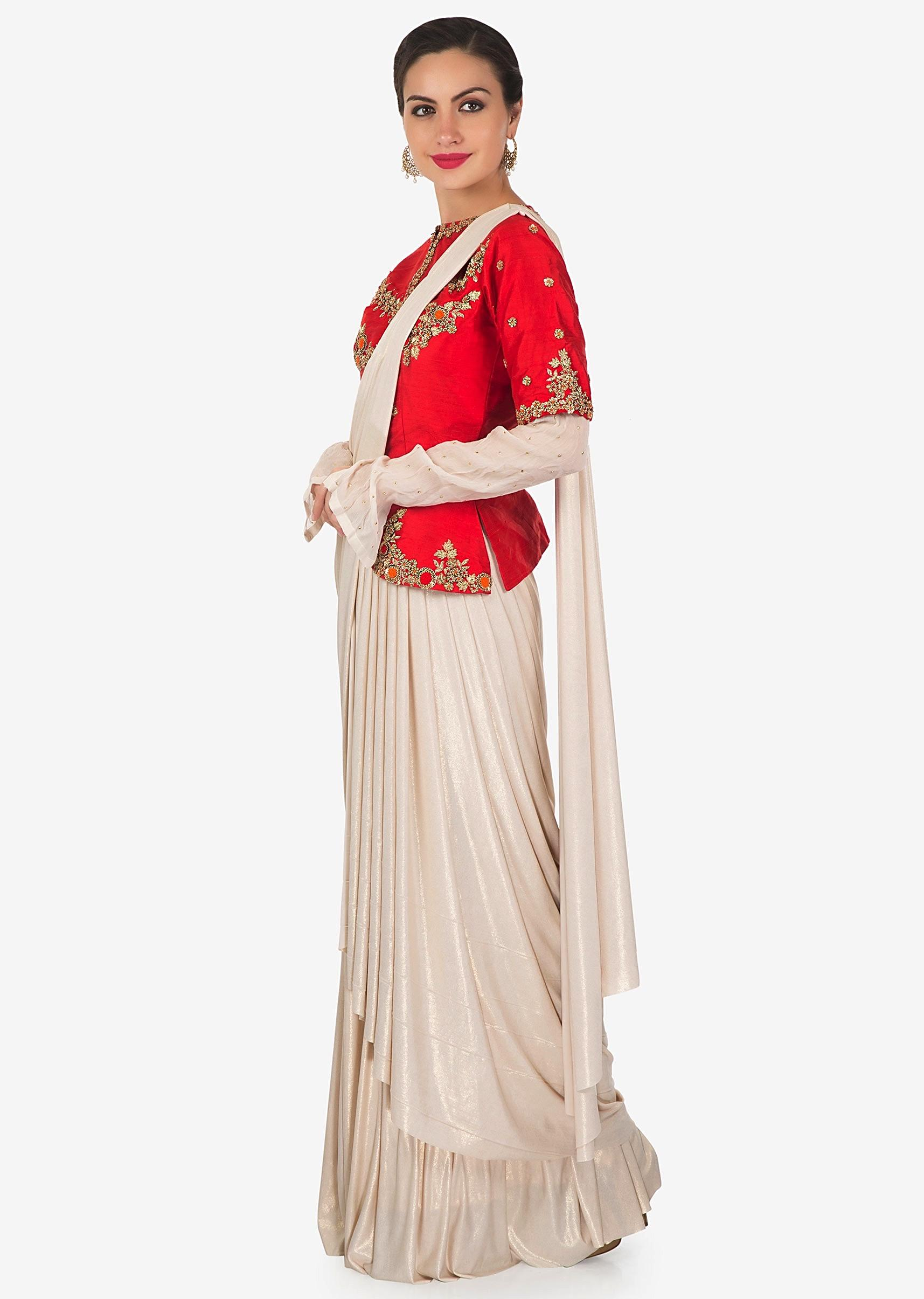 165646a89fa Gold lycra lehenga saree with pre stitched pallav and red raw silk embroidered  blouse only on Kalki
