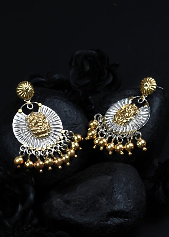 Gold Plated And Silver Earrings With Lord Ganesha And Dangling Beads Made In Sterling Silver By Sangeeta Boochra