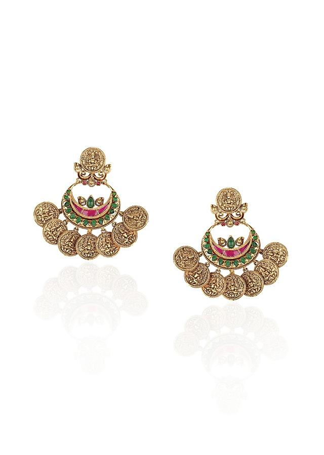 Gold Plated Chandbalis Adorned With Rubies And Emeralds Online - Joules By Radhika