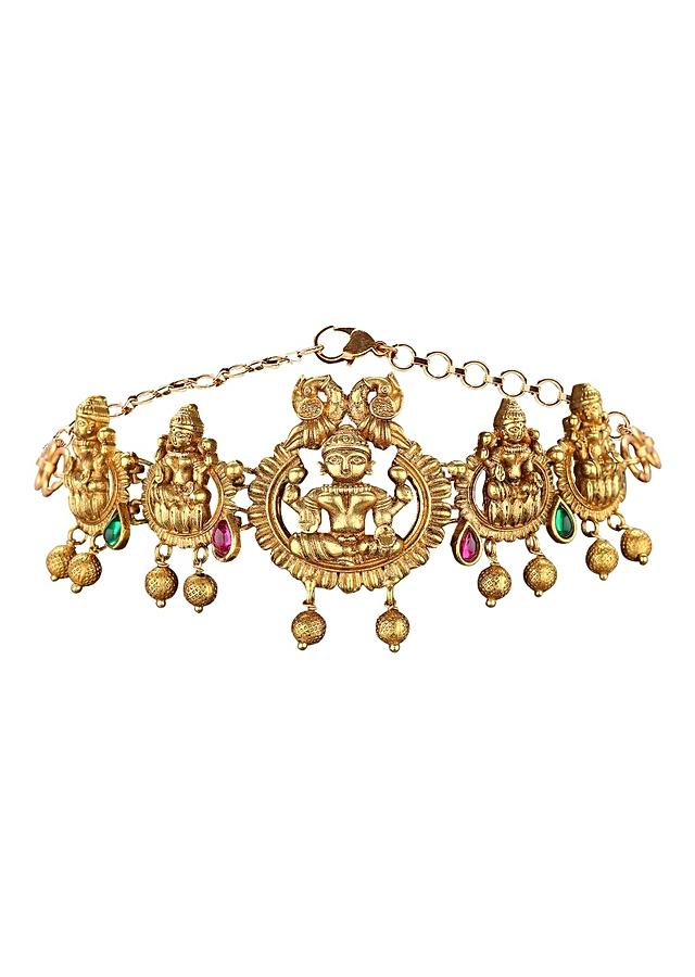 Gold Plated Choker Necklace In Antique Gold And Rubies Online - Joules By Radhika