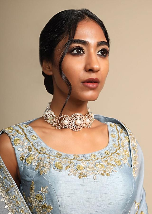 Gold Plated Choker With Carved Floral Design Studded With Pearls, Crystals And Stones By Prerto