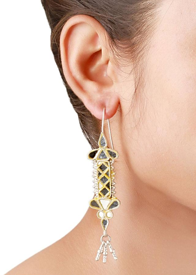Gold Plated Contemporary Earrings With Mirror Glass And Tassels Made In Sterling Silver By Sangeeta Boochra