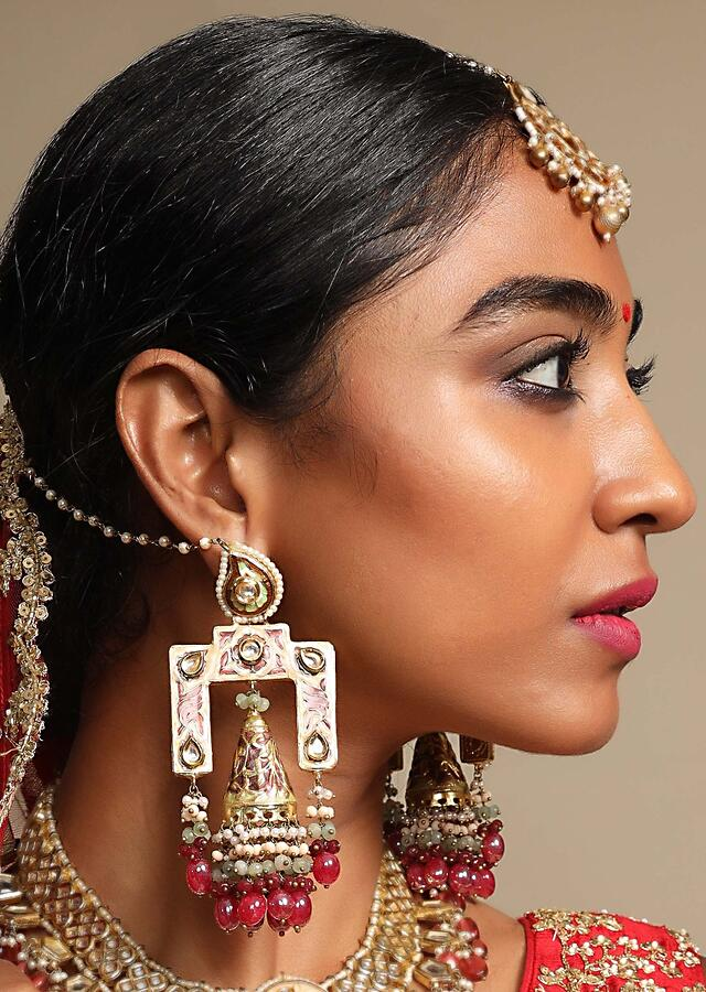 Gold Plated Designer Jhumkas With Ethnic Kundan Work And Dangling Multicolour Beads Online By Kohar