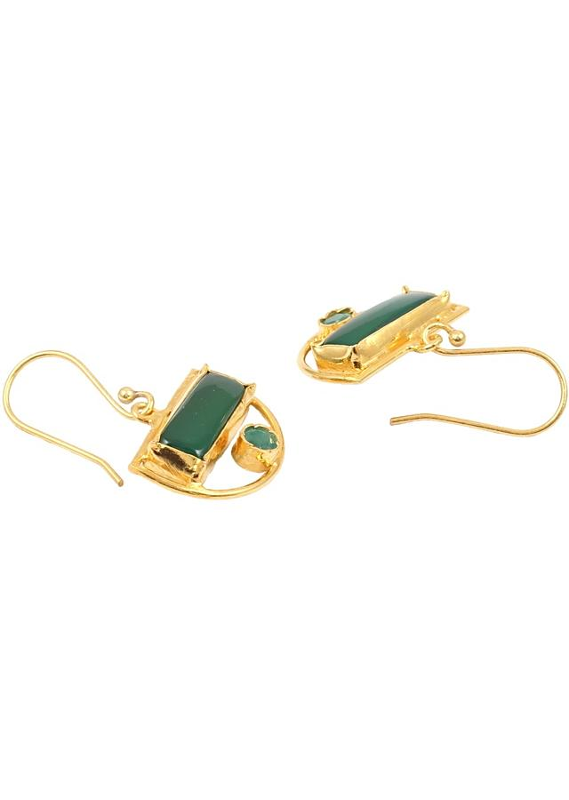 Gold Plated Drop Earrings With Green Onyx Stone In Geometric Motif Made In Sterling Silver By Sangeeta Boochra