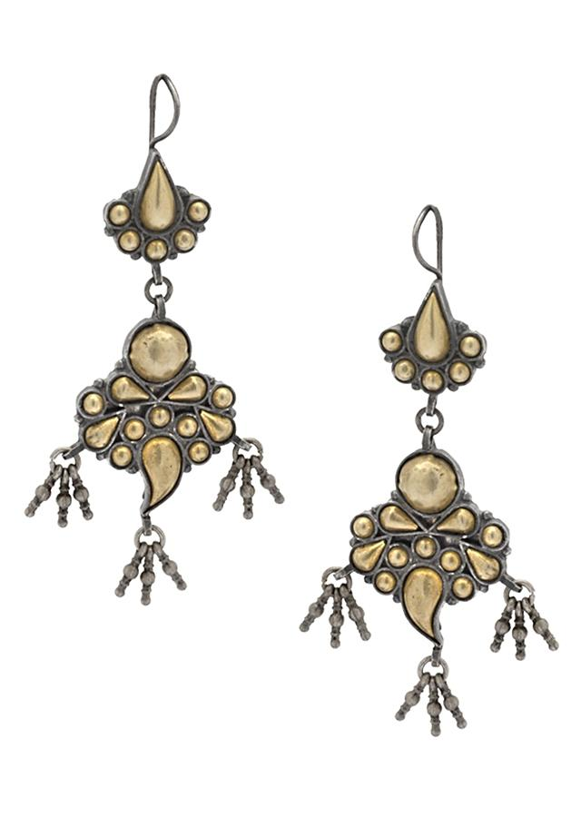 Gold Plated Earrings In Vintage Motif With Dangling Bead Tassels Made In Sterling Silver By Sangeeta Boochra