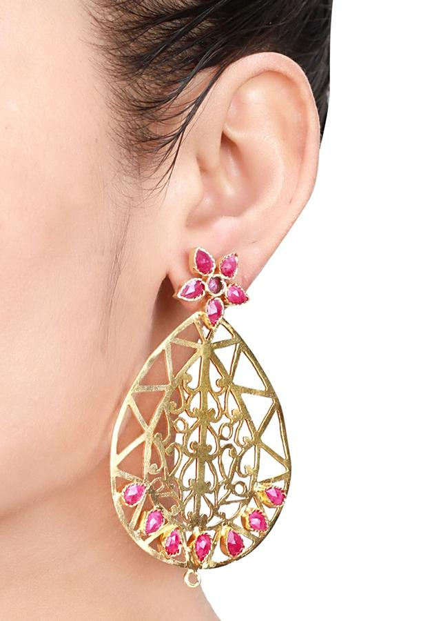 Gold Plated Earrings With Carved Vintage Design And Pink Gem Stones Made In Sterling Silver By Sangeeta Boochra