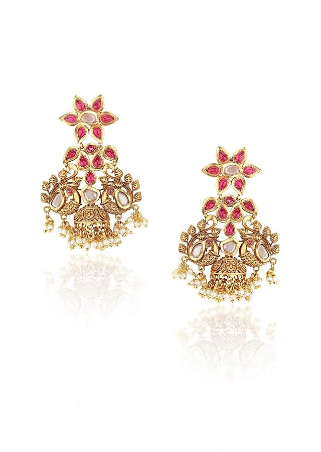 Gold Plated Earrings With Polki And Studded With Rubies Online - Joules By Radhika