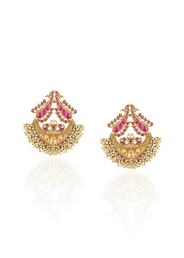 Gold Plated Ethnic Earrings Studded With Rubies And Dangling Pearls Online - Joules By Radhika